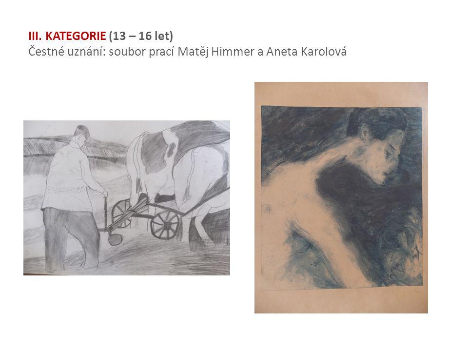 III. KATEGORIE (13 – 16 let) Čestné uznání: soubor prací Matěj Himmer a Aneta Karolová