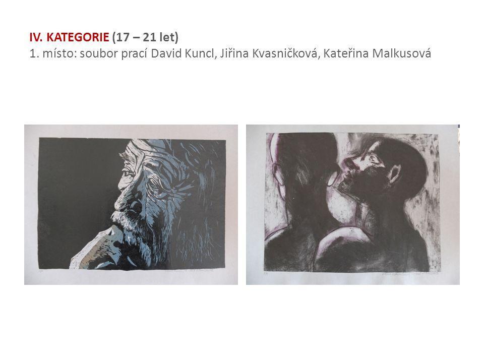 IV. KATEGORIE (17 – 21 let) 1. místo: soubor prací David Kuncl, Jiřina Kvasničková, Kateřina Malkusová
