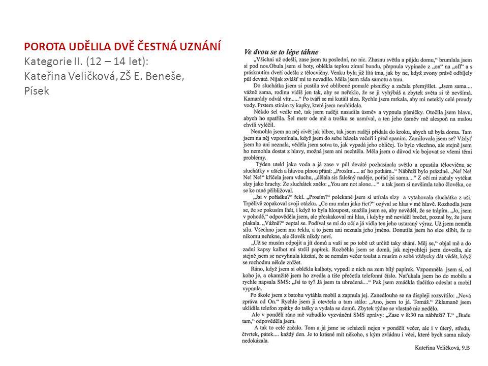 POROTA UDĚLILA DVĚ ČESTNÁ UZNÁNÍ Kategorie II. (12 – 14 let): Kateřina Veličková, ZŠ E. Beneše, Písek