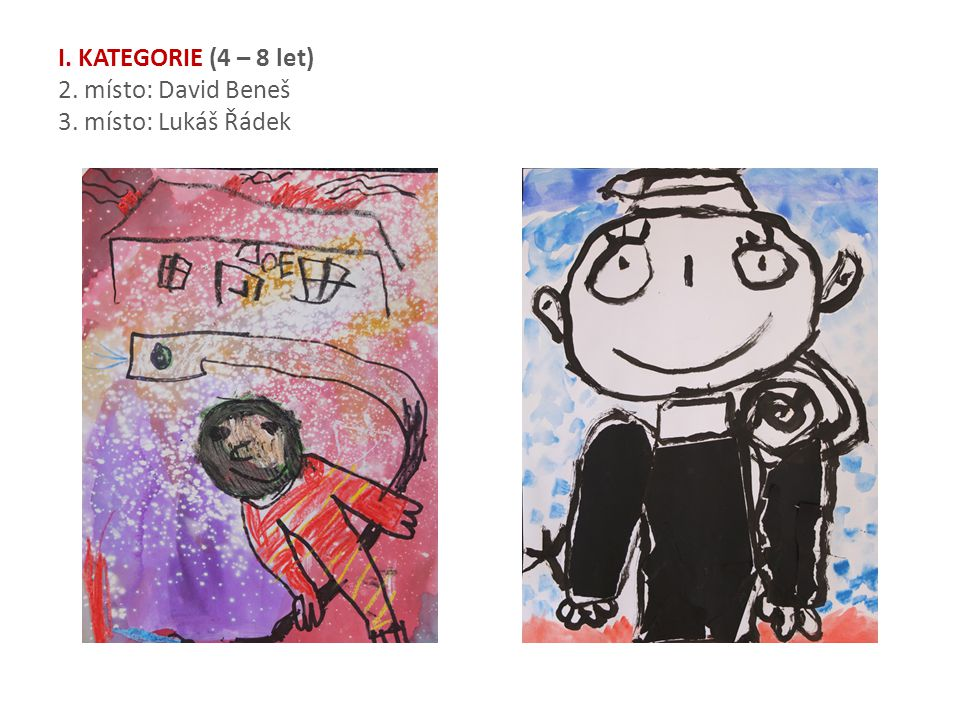 I. KATEGORIE (4 – 8 let) 2. místo: David Beneš 3. místo: Lukáš Řádek
