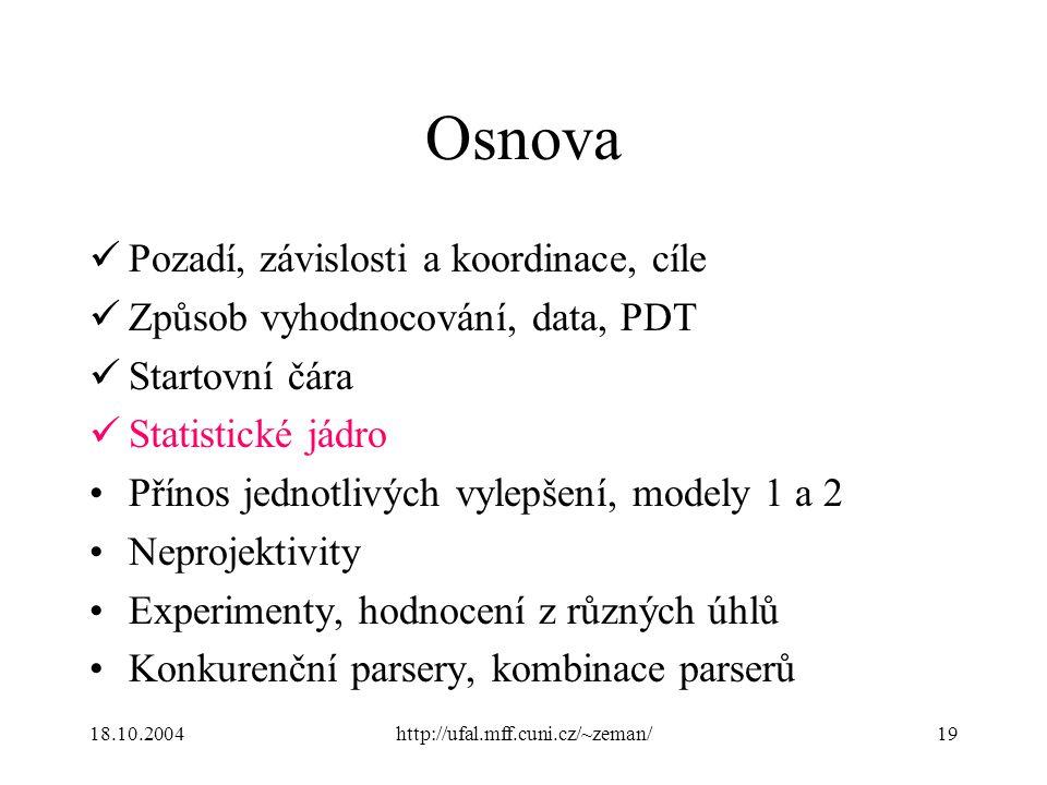 18.10.2004http://ufal.mff.cuni.cz/~zeman/19 Osnova Pozadí, závislosti a koordinace, cíle Způsob vyhodnocování, data, PDT Startovní čára Statistické já