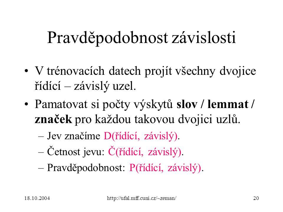 18.10.2004http://ufal.mff.cuni.cz/~zeman/20 Pravděpodobnost závislosti V trénovacích datech projít všechny dvojice řídící – závislý uzel.