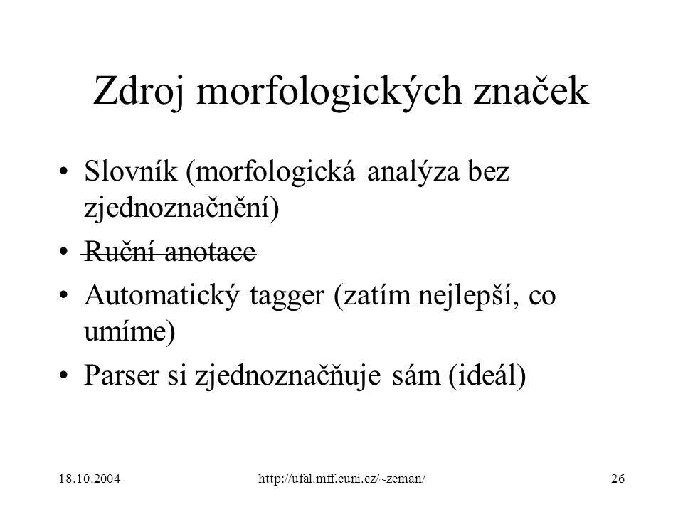 18.10.2004http://ufal.mff.cuni.cz/~zeman/26 Zdroj morfologických značek Slovník (morfologická analýza bez zjednoznačnění) Ruční anotace Automatický tagger (zatím nejlepší, co umíme) Parser si zjednoznačňuje sám (ideál)