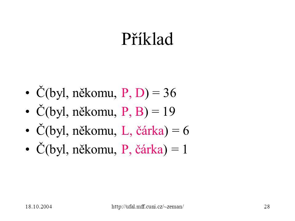 18.10.2004http://ufal.mff.cuni.cz/~zeman/28 Příklad Č(byl, někomu, P, D) = 36 Č(byl, někomu, P, B) = 19 Č(byl, někomu, L, čárka) = 6 Č(byl, někomu, P, čárka) = 1