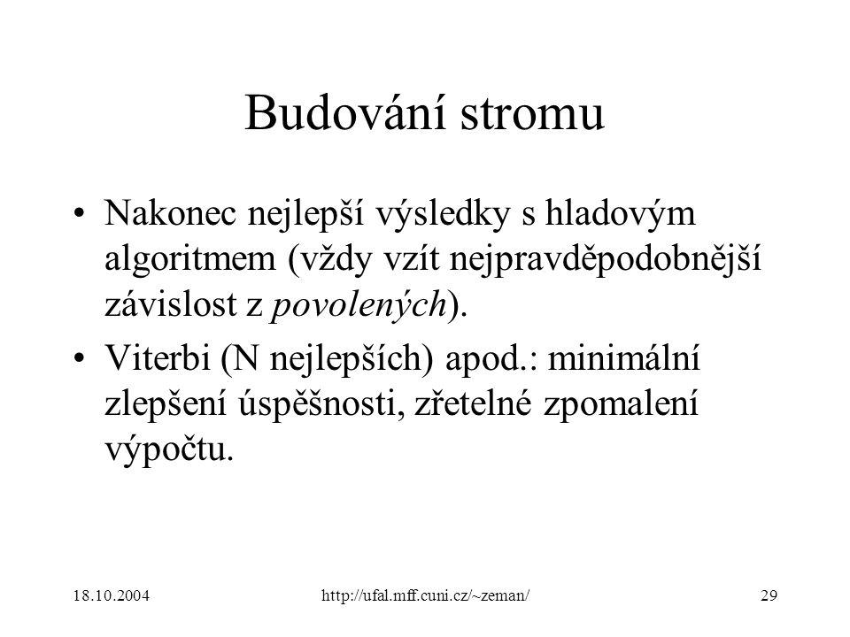 18.10.2004http://ufal.mff.cuni.cz/~zeman/29 Budování stromu Nakonec nejlepší výsledky s hladovým algoritmem (vždy vzít nejpravděpodobnější závislost z povolených).