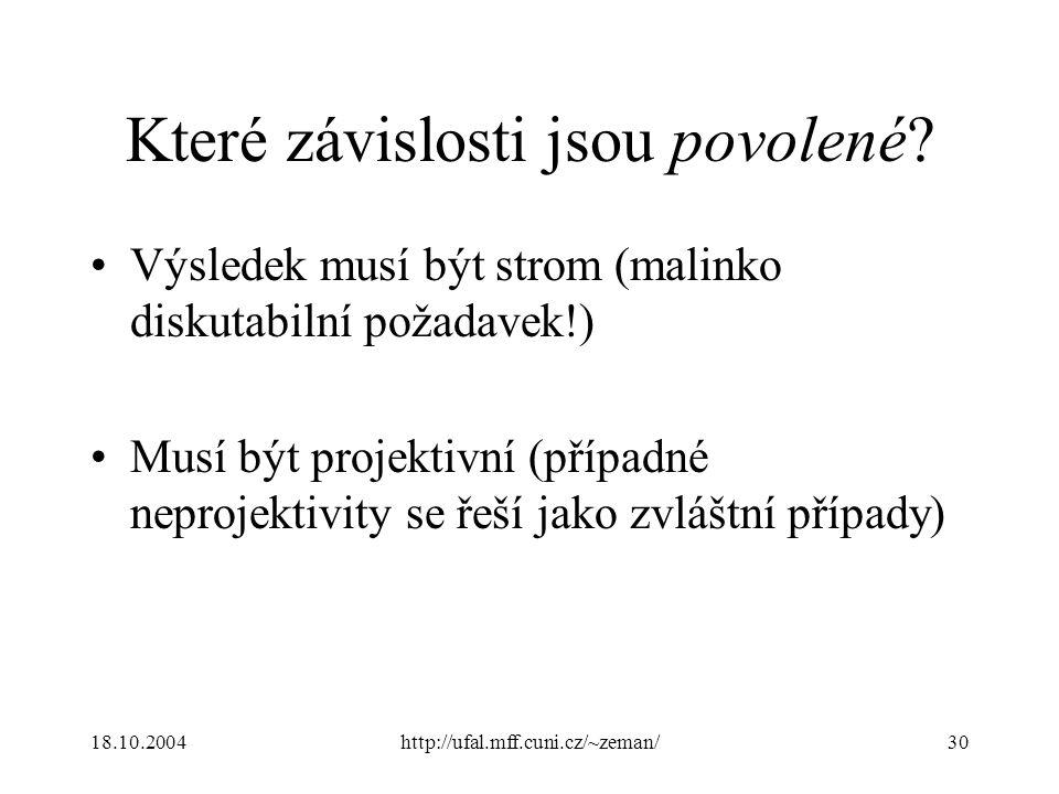 18.10.2004http://ufal.mff.cuni.cz/~zeman/30 Které závislosti jsou povolené? Výsledek musí být strom (malinko diskutabilní požadavek!) Musí být projekt