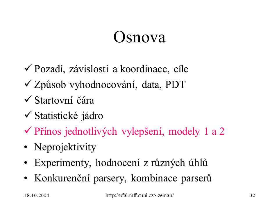 18.10.2004http://ufal.mff.cuni.cz/~zeman/32 Osnova Pozadí, závislosti a koordinace, cíle Způsob vyhodnocování, data, PDT Startovní čára Statistické já