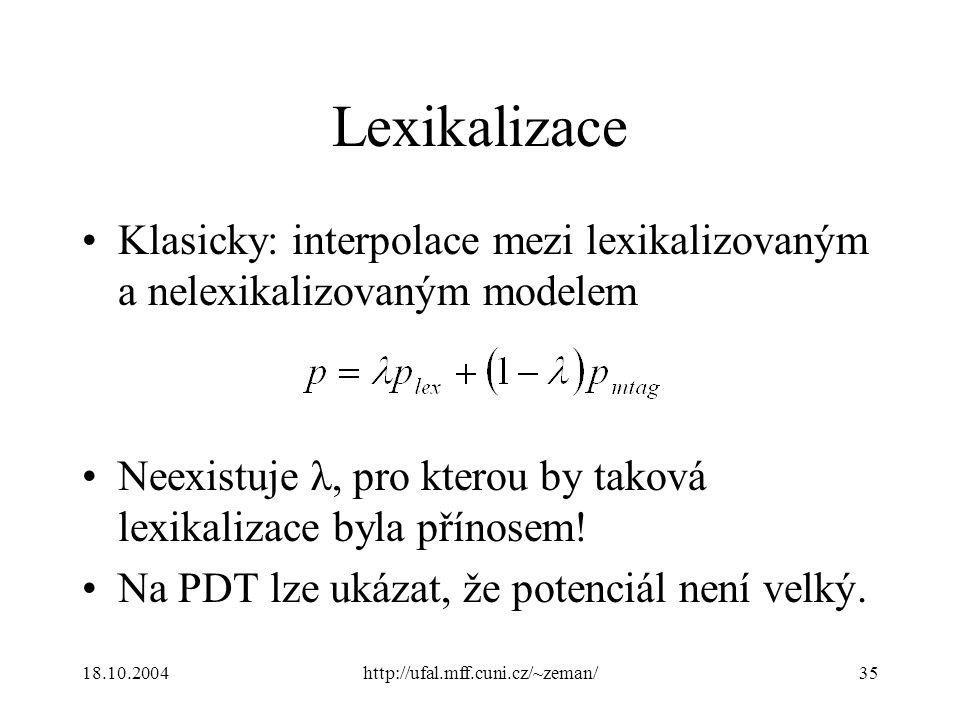 18.10.2004http://ufal.mff.cuni.cz/~zeman/35 Lexikalizace Klasicky: interpolace mezi lexikalizovaným a nelexikalizovaným modelem Neexistuje λ, pro kterou by taková lexikalizace byla přínosem.