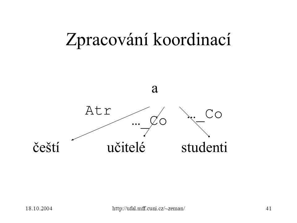 18.10.2004http://ufal.mff.cuni.cz/~zeman/41 Zpracování koordinací češtíučiteléstudenti a …_Co Atr