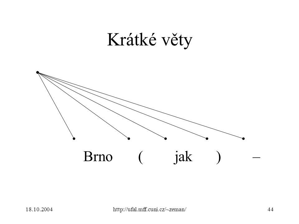 18.10.2004http://ufal.mff.cuni.cz/~zeman/44 Krátké věty Brno(jak)–
