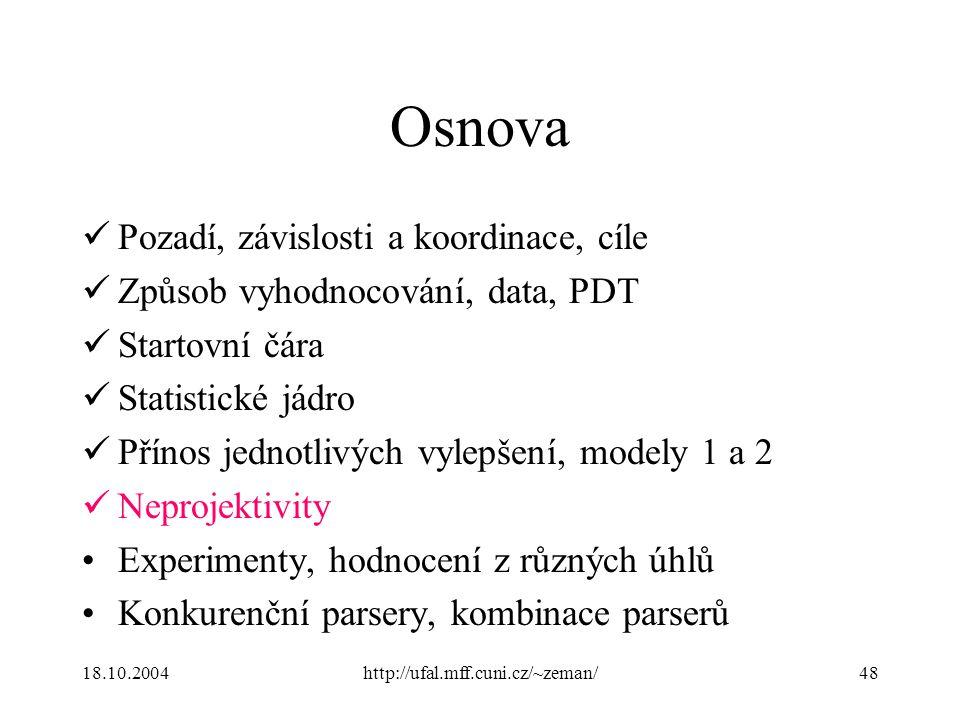 18.10.2004http://ufal.mff.cuni.cz/~zeman/48 Osnova Pozadí, závislosti a koordinace, cíle Způsob vyhodnocování, data, PDT Startovní čára Statistické já
