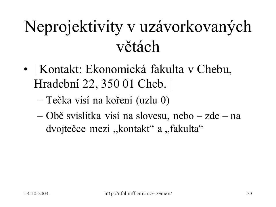 18.10.2004http://ufal.mff.cuni.cz/~zeman/53 Neprojektivity v uzávorkovaných větách | Kontakt: Ekonomická fakulta v Chebu, Hradební 22, 350 01 Cheb. |