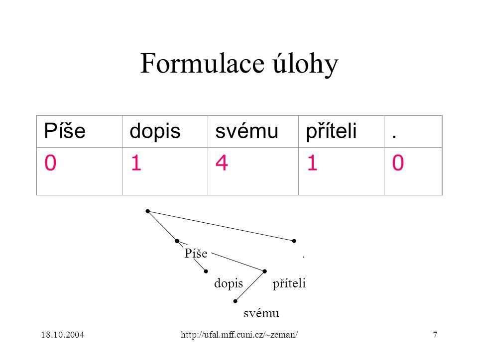 18.10.2004http://ufal.mff.cuni.cz/~zeman/7 Formulace úlohy Píšedopissvémupříteli. 01410 Píše dopis svému příteli.