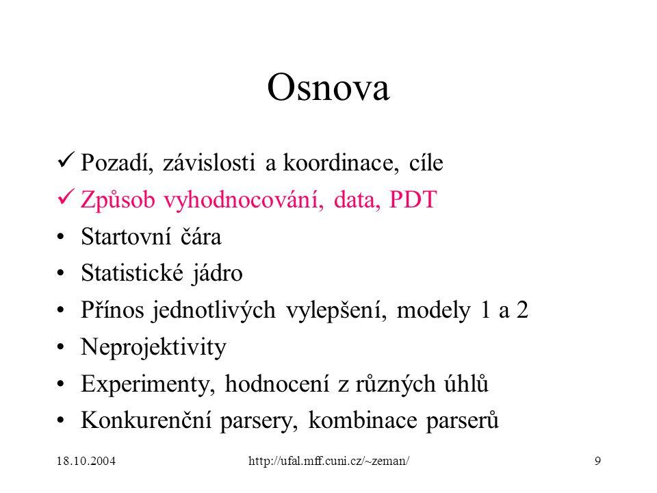 18.10.2004http://ufal.mff.cuni.cz/~zeman/9 Osnova Pozadí, závislosti a koordinace, cíle Způsob vyhodnocování, data, PDT Startovní čára Statistické jád
