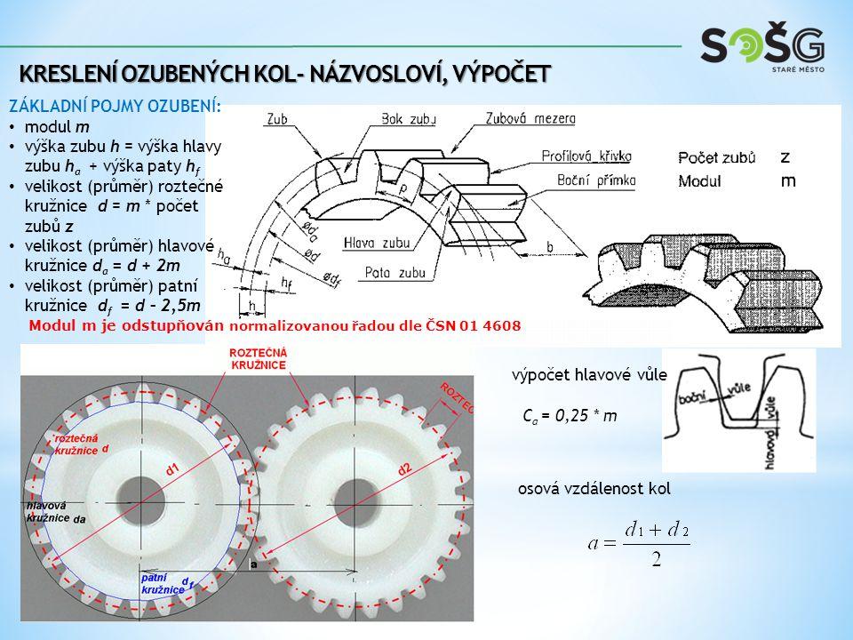 KRESLENÍ OZUBENÝCH KOL- NÁZVOSLOVÍ, VÝPOČET ZÁKLADNÍ VÝPOČTOVÉ VZORCE OZUBENÍ A PŘEVODU: 1) výpočet velikosti průměru roztečné kružnice 2) výpočet velikosti průměru hlavové kružnice 3) výpočet velikosti průměru patní kružnice 4) výpočet hlavové vůle 5) šířka kola 6) osová vzdálenost kol 7) výpočet převodového poměru C a = 0,25 * m D – Ø roztečné kružnice z – počet zubů n – otáčky 1 – index hnacího kola 2 - index hnaného b = Ψ.