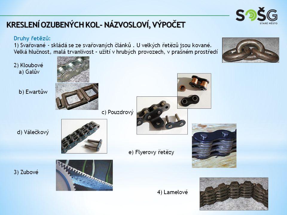 KRESLENÍ OZUBENÝCH KOL- NÁZVOSLOVÍ, VÝPOČET Řetězová kola Nejčastěji pastorek - lichý počet zubů (aby se řetěz rovnoměrně opotřeboval) Materiál - malé kolo - 11 600, 11 700, 12 020 velká kola - litina, ocel na odlitky Provedení kol - odlitek, svařenec, obráběním Každý typ řetězu vyžaduje správný typ řetězového kola.
