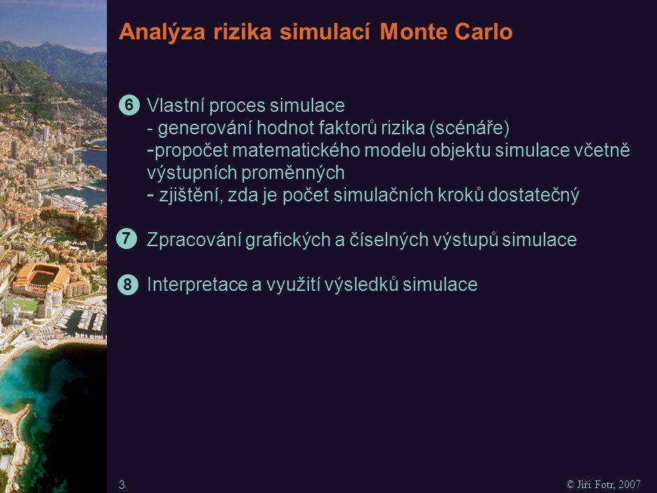 Analýza rizika simulací Monte Carlo Vlastní proces simulace - generování hodnot faktorů rizika (scénáře) - propočet matematického modelu objektu simul