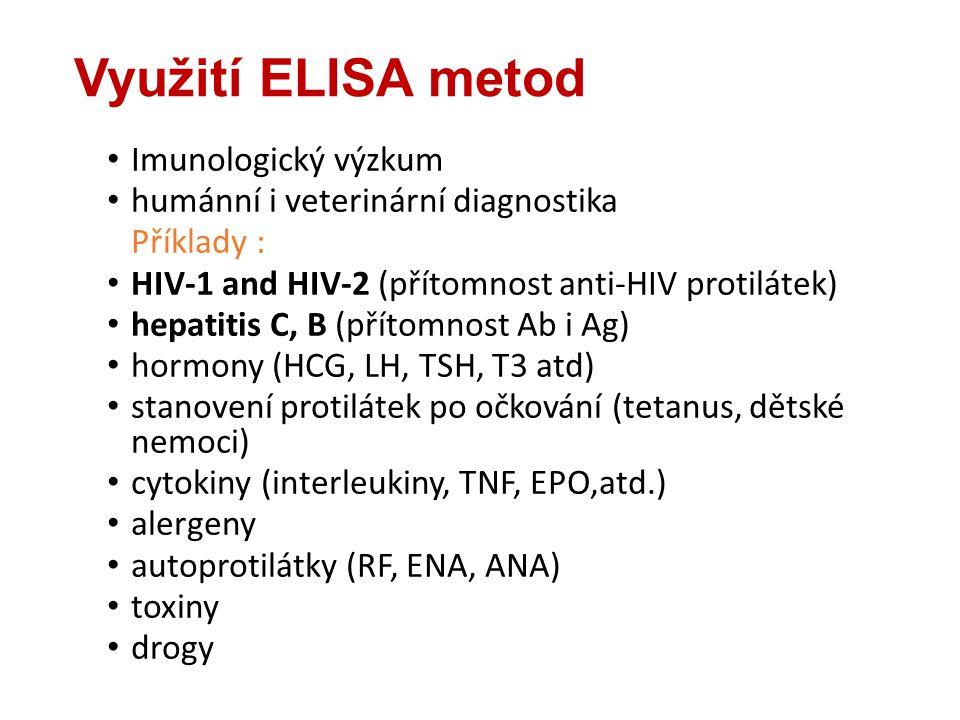 Využití ELISA metod Imunologický výzkum humánní i veterinární diagnostika Příklady : HIV-1 and HIV-2 (přítomnost anti-HIV protilátek) hepatitis C, B (přítomnost Ab i Ag) hormony (HCG, LH, TSH, T3 atd) stanovení protilátek po očkování (tetanus, dětské nemoci) cytokiny (interleukiny, TNF, EPO,atd.) alergeny autoprotilátky (RF, ENA, ANA) toxiny drogy