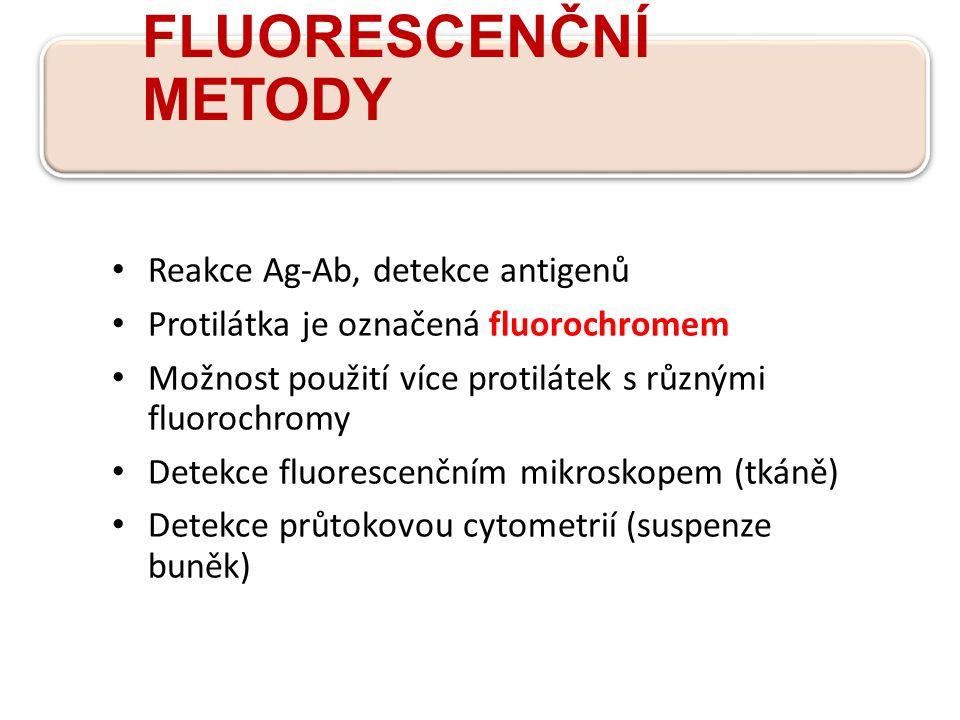 FLUORESCENČNÍ METODY Reakce Ag-Ab, detekce antigenů Protilátka je označená fluorochromem Možnost použití více protilátek s různými fluorochromy Detekce fluorescenčním mikroskopem (tkáně) Detekce průtokovou cytometrií (suspenze buněk)
