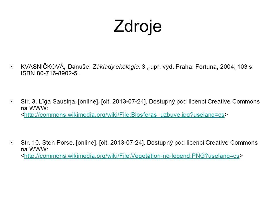 Zdroje KVASNIČKOVÁ, Danuše. Základy ekologie. 3., upr. vyd. Praha: Fortuna, 2004, 103 s. ISBN 80-716-8902-5. Str. 3. Līga Sausiņa. [online]. [cit. 201