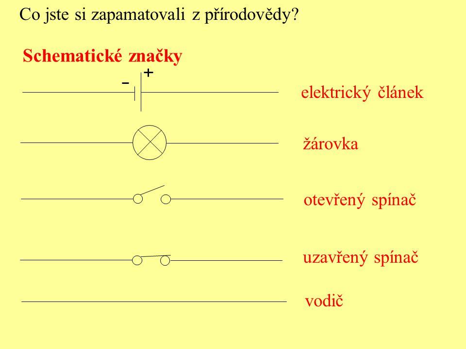Schematické značky elektrický článek otevřený spínač uzavřený spínač Co jste si zapamatovali z přírodovědy? žárovka vodič