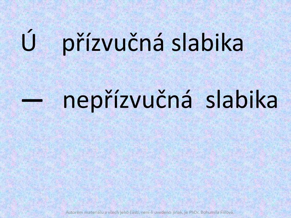 Ú přízvučná slabika ― nepřízvučná slabika Autorem materiálu a všech jeho částí, není-li uvedeno jinak, je PhDr. Bohumila Fillová.