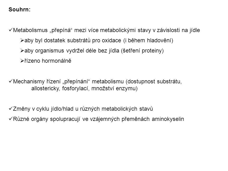 """Souhrn: Metabolismus """"přepíná"""" mezi více metabolickými stavy v závislosti na jídle  aby byl dostatek substrátů pro oxidace (i během hladovění)  aby"""