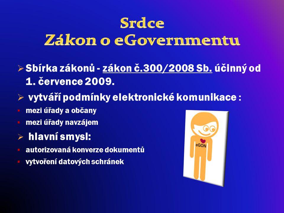  Sbírka zákonů - zákon č.300/2008 Sb. účinný od 1. července 2009.  vytváří podmínky elektronické komunikace :  mezi úřady a občany  mezi úřady nav
