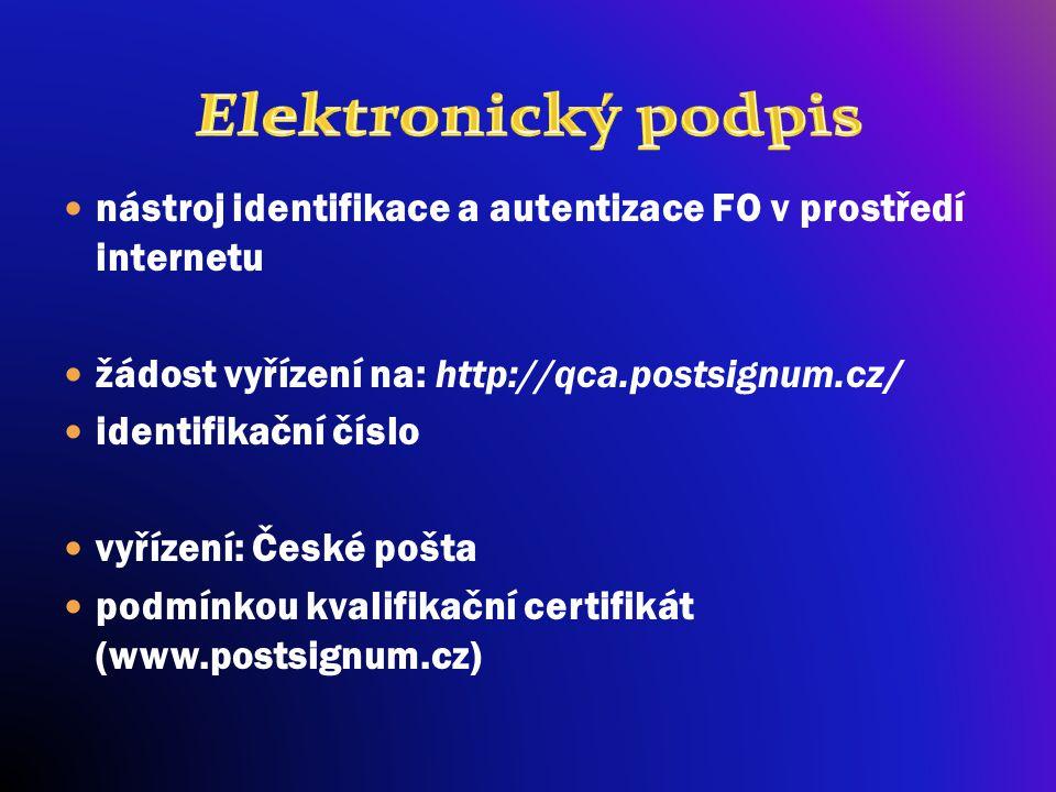 nástroj identifikace a autentizace FO v prostředí internetu žádost vyřízení na: http://qca.postsignum.cz/ identifikační číslo vyřízení: České pošta po