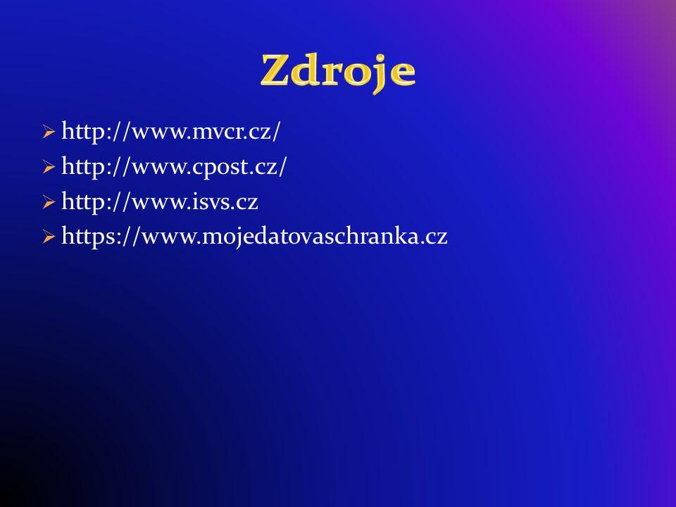  http://www.mvcr.cz/  http://www.cpost.cz/  http://www.isvs.cz  https://www.mojedatovaschranka.cz