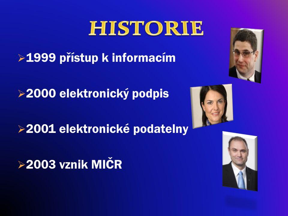  1999 přístup k informacím  2000 elektronický podpis  2001 elektronické podatelny  2003 vznik MIČR