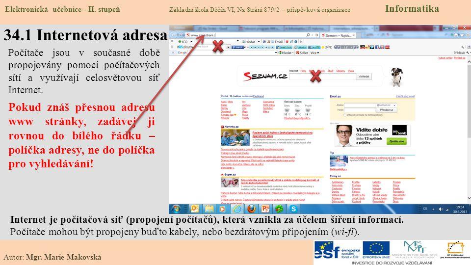 34.2 Co už známe – Význam internetu Elektronická učebnice - II.