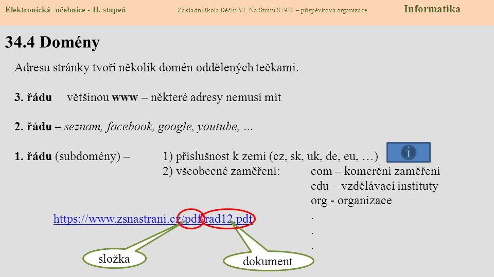34.4 Domény Elektronická učebnice - II.