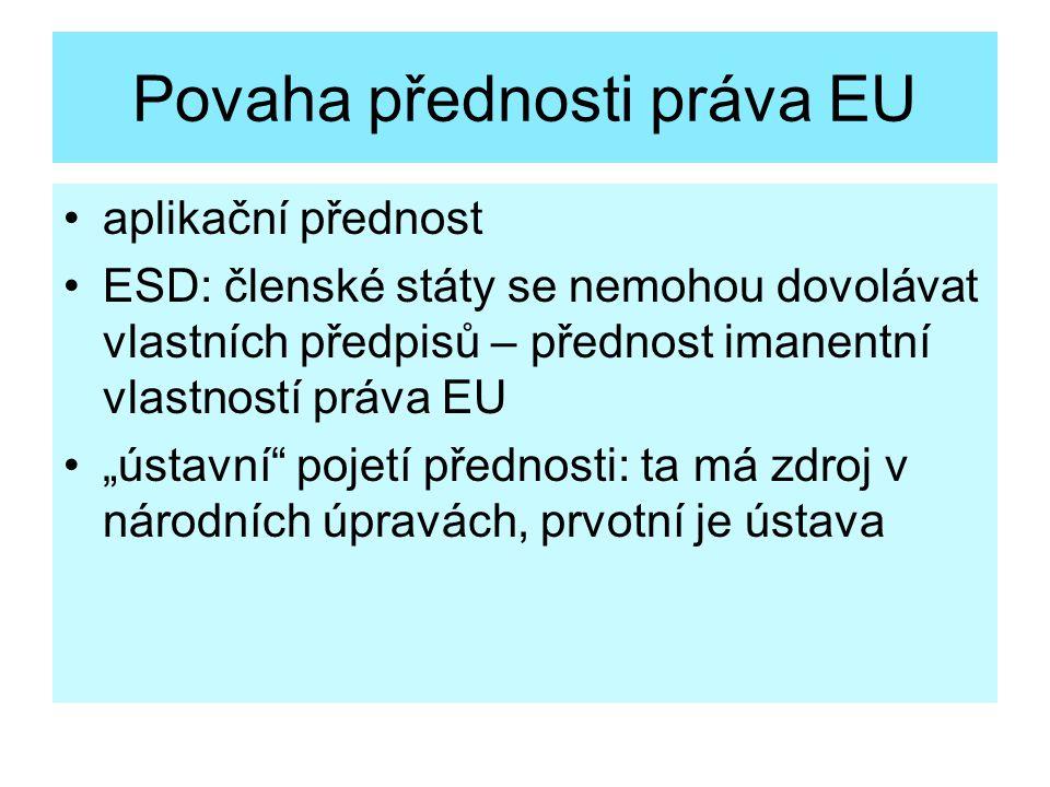 """Povaha přednosti práva EU aplikační přednost ESD: členské státy se nemohou dovolávat vlastních předpisů – přednost imanentní vlastností práva EU """"ústa"""