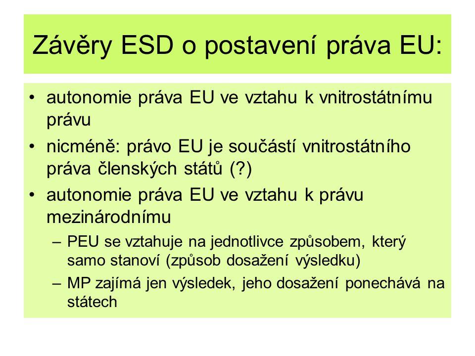 Závěry ESD o postavení práva EU: autonomie práva EU ve vztahu k vnitrostátnímu právu nicméně: právo EU je součástí vnitrostátního práva členských stát