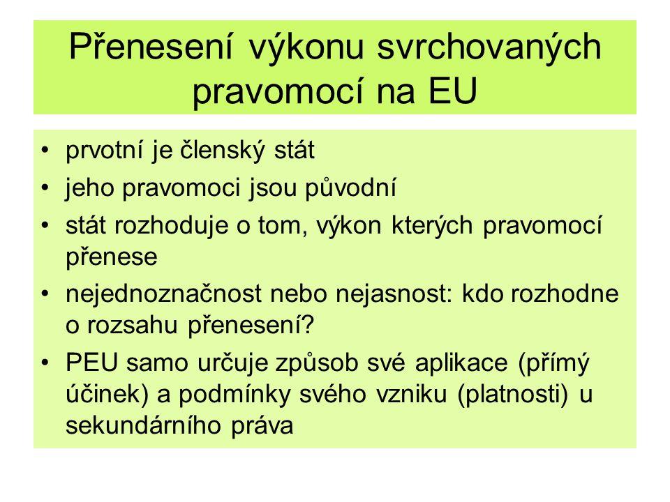 Přenesení výkonu svrchovaných pravomocí na EU prvotní je členský stát jeho pravomoci jsou původní stát rozhoduje o tom, výkon kterých pravomocí přenes
