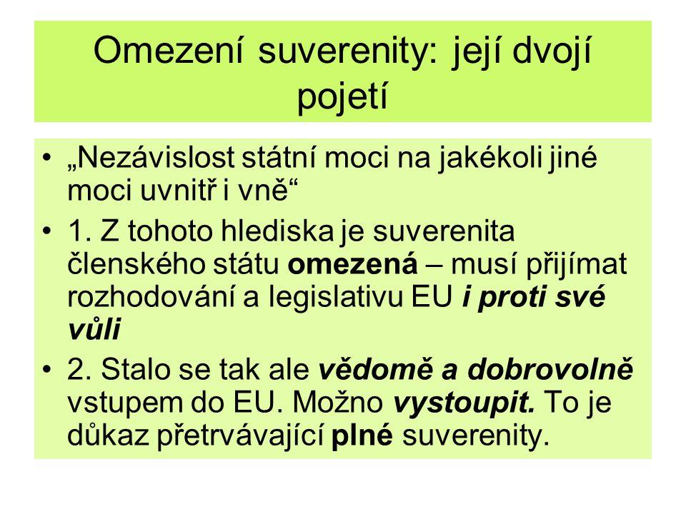 Argumenty ve prospěch druhého pojetí a) suverenita by byla omezená uzavřením kterékoli mezinárodní smlouvy – každá smlouva stanoví pro stát povinnosti b) vysoký stupeň integrace nelze uskutečnit klasickou mezinárodně právní cestou.