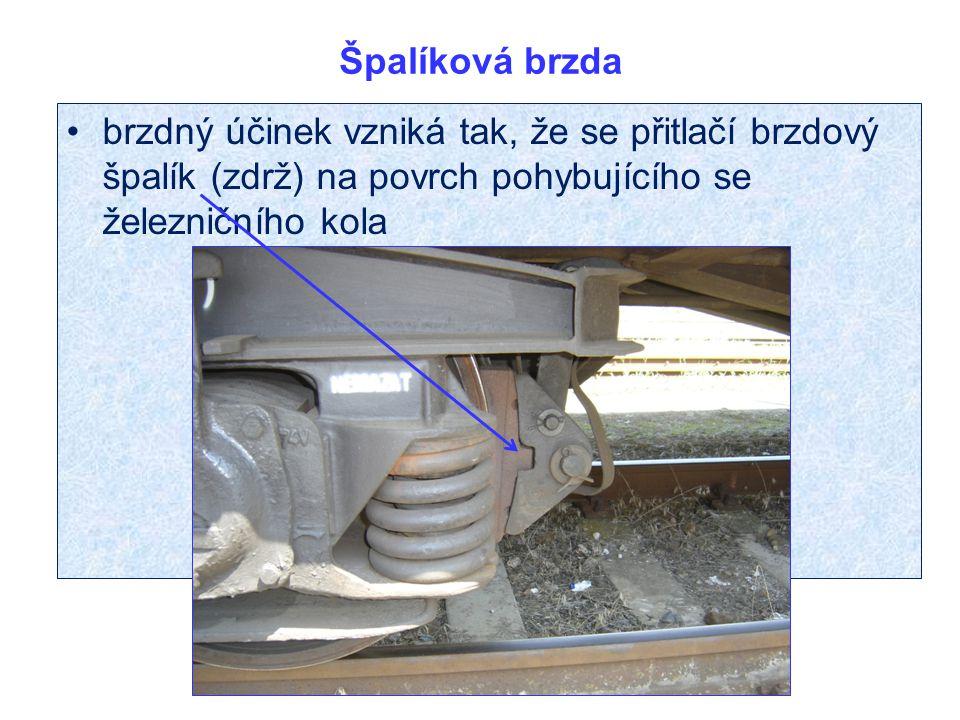 Špalíková brzda brzdný účinek vzniká tak, že se přitlačí brzdový špalík (zdrž) na povrch pohybujícího se železničního kola