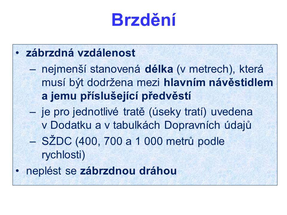 Brzdění zábrzdná vzdálenost – nejmenší stanovená délka (v metrech), která musí být dodržena mezi hlavním návěstidlem a jemu příslušející předvěstí – je pro jednotlivé tratě (úseky tratí) uvedena v Dodatku a v tabulkách Dopravních údajů – SŽDC (400, 700 a 1 000 metrů podle rychlosti) neplést se zábrzdnou dráhou