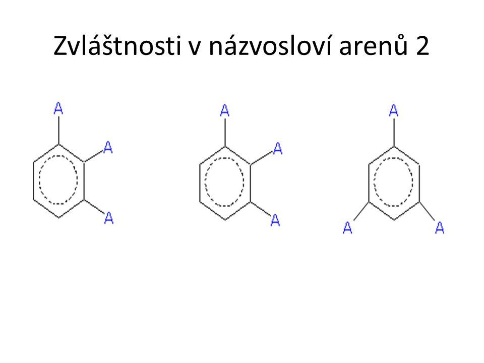 Zvláštnosti v názvosloví arenů 3 p-cymen kumen