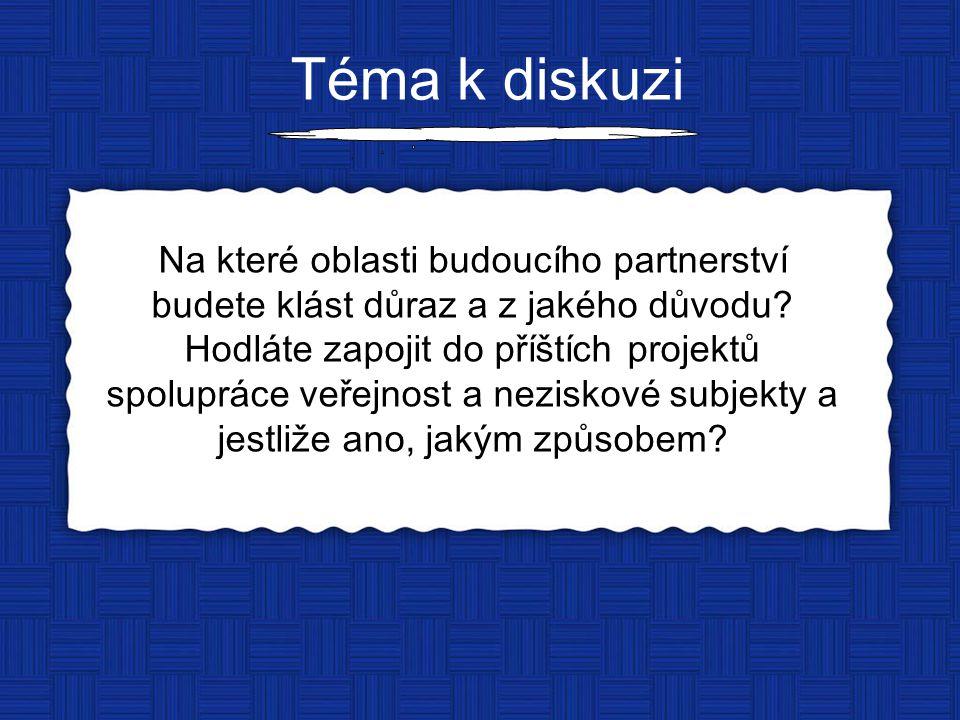 Téma k diskuzi Na které oblasti budoucího partnerství budete klást důraz a z jakého důvodu.