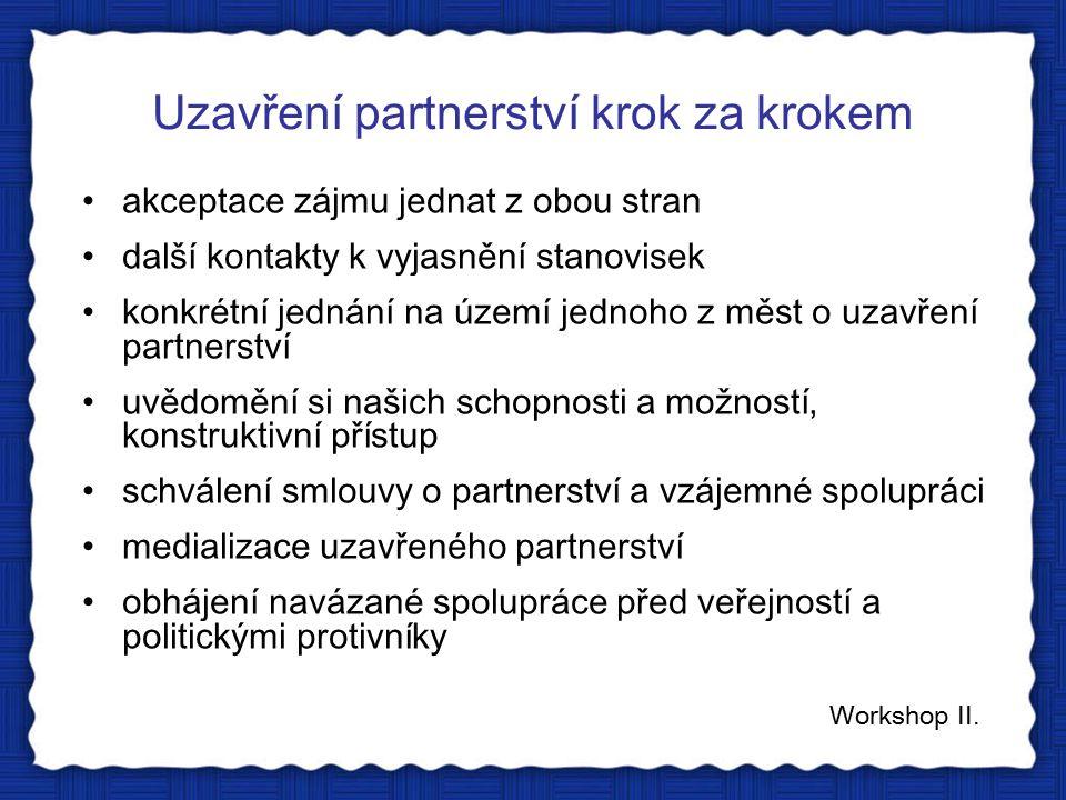 Uzavření partnerství krok za krokem Workshop II.