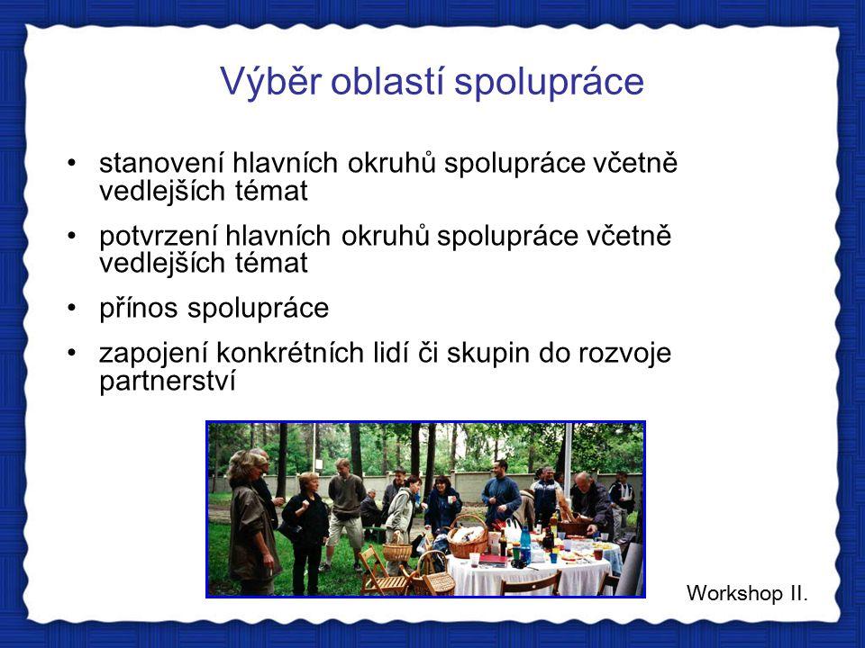 Výběr oblastí spolupráce Workshop II.