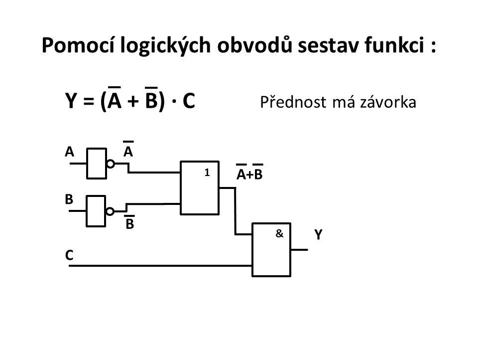 Pomocí logických obvodů sestav funkci : Y = (A + B) · C Přednost má závorka &1 AA A+BA+B Y B B C