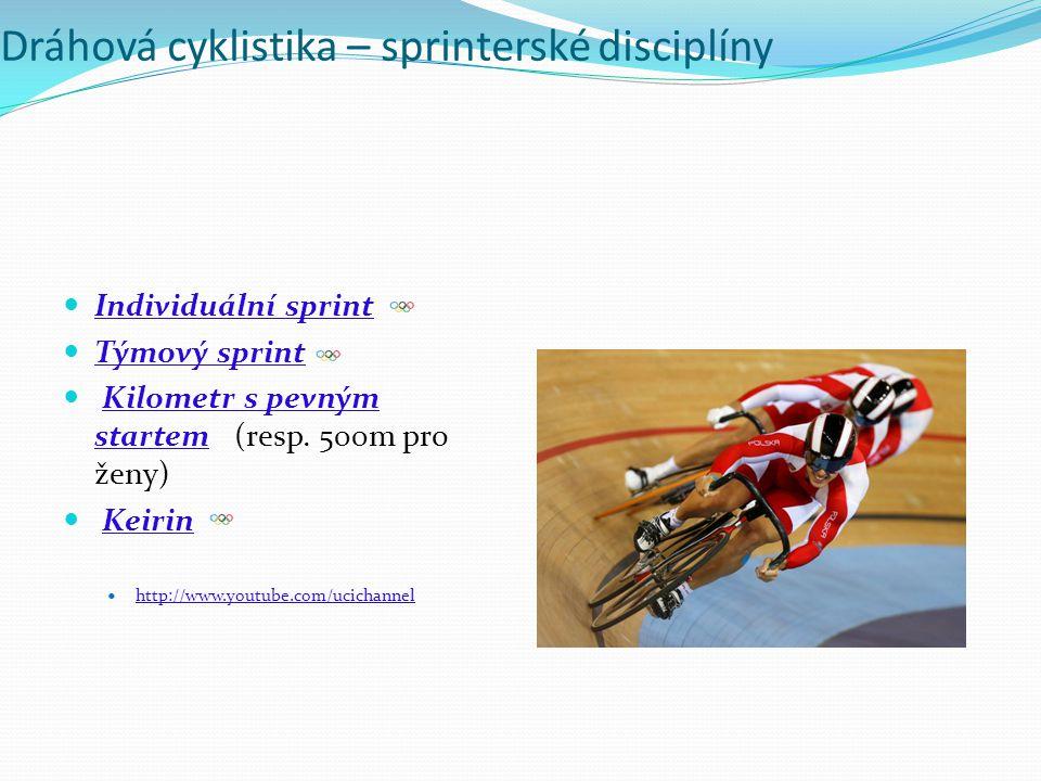 Dráhová cyklistika – sprinterské disciplíny Individuální sprint Týmový sprint Kilometr s pevným startem (resp. 500m pro ženy)Kilometr s pevným startem