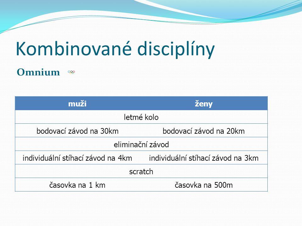 Kombinované disciplíny Omnium mužiženy letmé kolo bodovací závod na 30kmbodovací závod na 20km eliminační závod individuální stíhací závod na 4kmindiv
