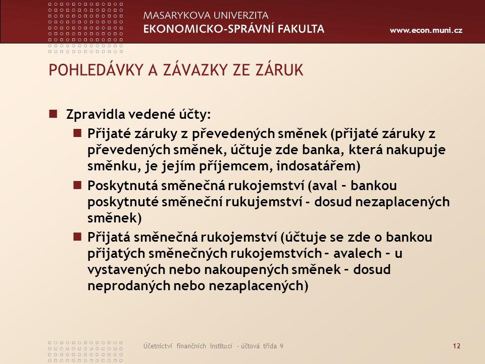 www.econ.muni.cz Účetnictví finančních institucí - účtová třída 912 POHLEDÁVKY A ZÁVAZKY ZE ZÁRUK Zpravidla vedené účty: Přijaté záruky z převedených