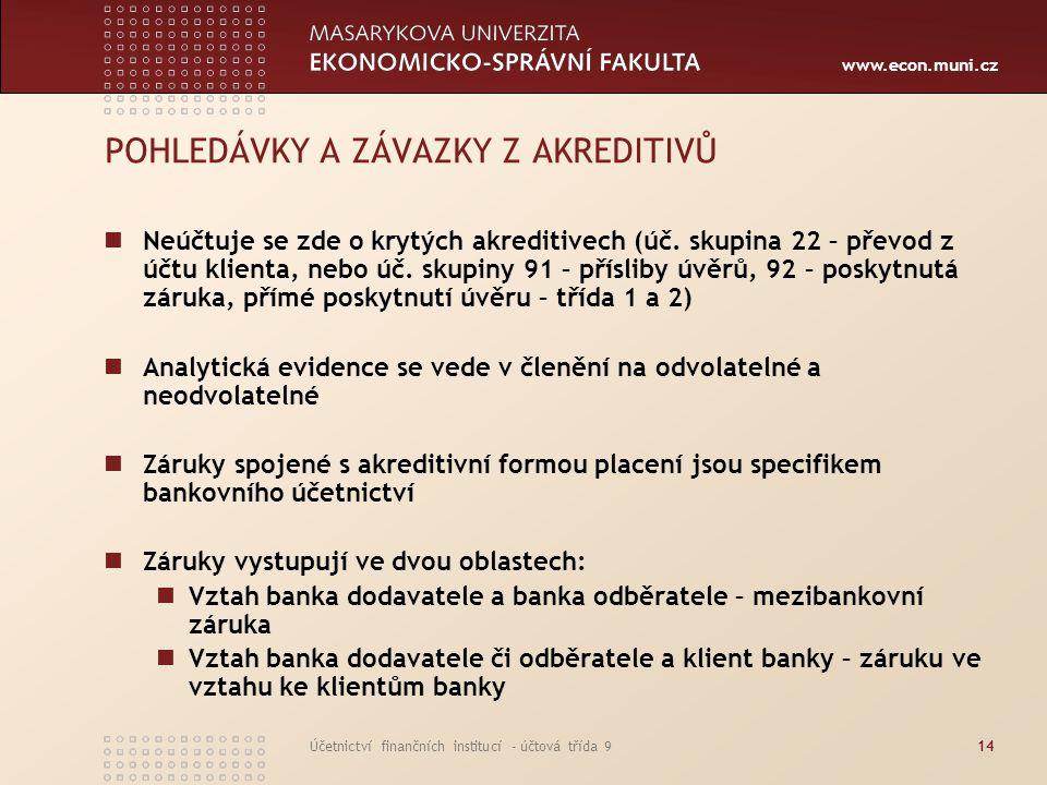 www.econ.muni.cz Účetnictví finančních institucí - účtová třída 914 POHLEDÁVKY A ZÁVAZKY Z AKREDITIVŮ Neúčtuje se zde o krytých akreditivech (úč. skup
