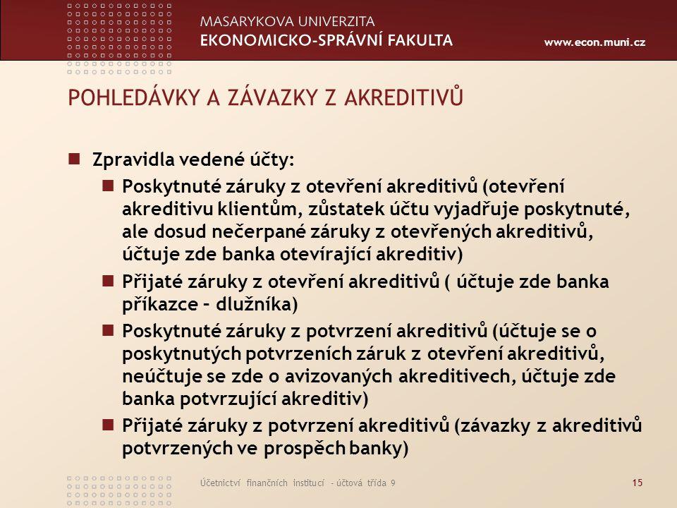 www.econ.muni.cz Účetnictví finančních institucí - účtová třída 915 POHLEDÁVKY A ZÁVAZKY Z AKREDITIVŮ Zpravidla vedené účty: Poskytnuté záruky z otevř