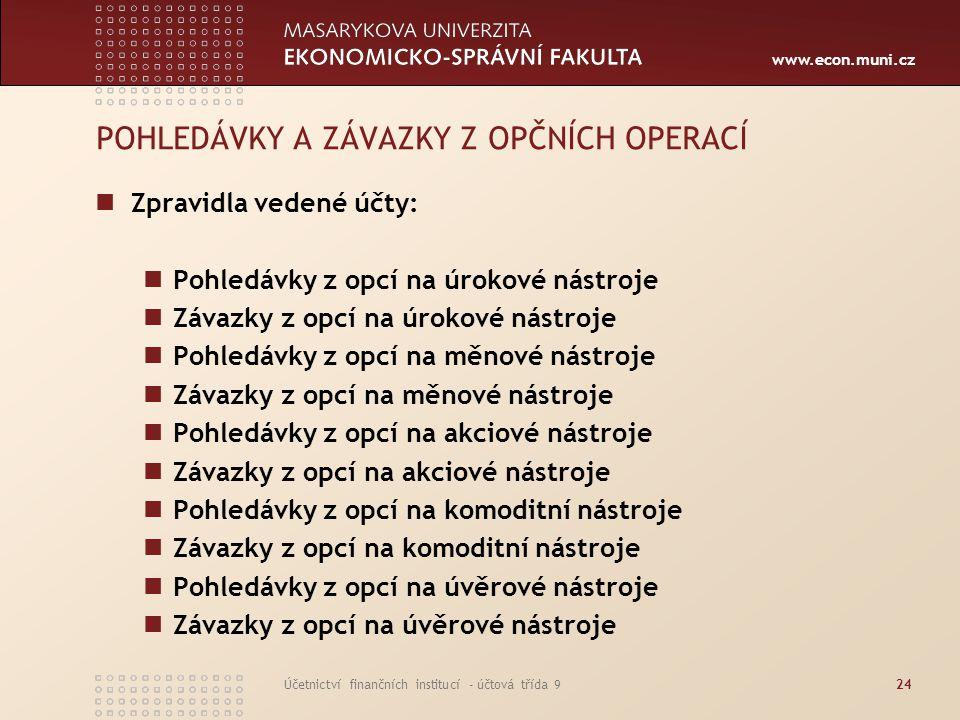 www.econ.muni.cz Účetnictví finančních institucí - účtová třída 924 POHLEDÁVKY A ZÁVAZKY Z OPČNÍCH OPERACÍ Zpravidla vedené účty: Pohledávky z opcí na